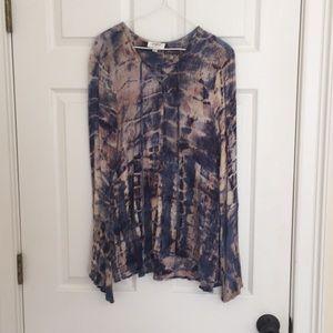 Groovy tied died print blouse